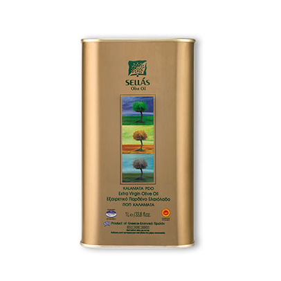 Sellas Extra Virgin Olive Oil Tin PDO Kalamata 1lt