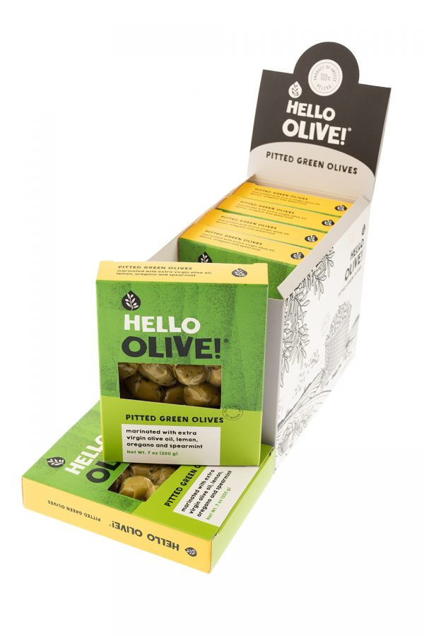 Green olives display hello olive